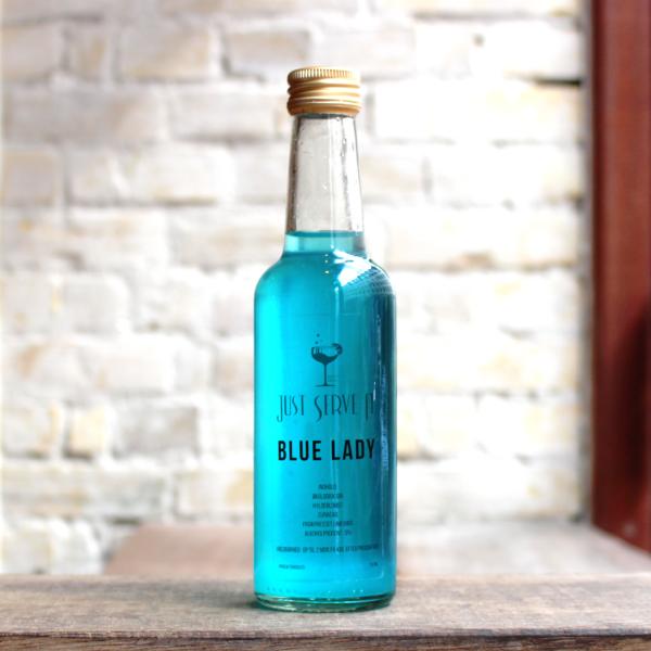 Produktbillede af Blue Lady cocktail på flaske